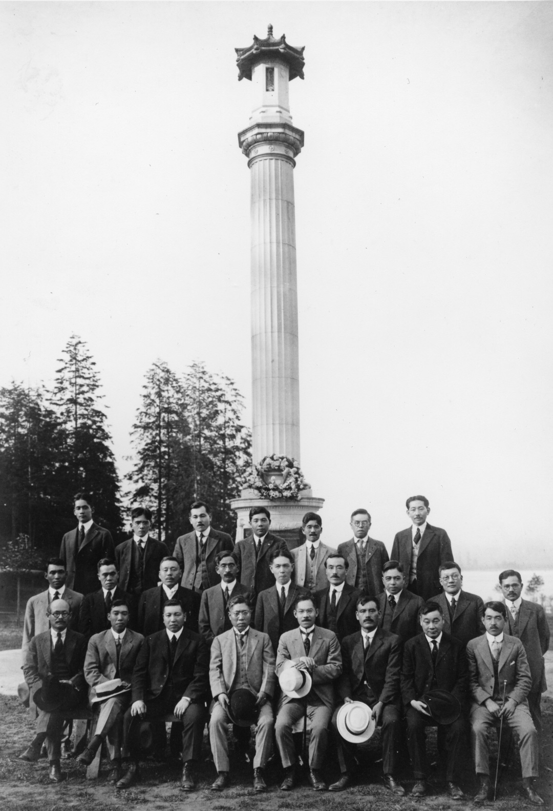 Members of the Canadian Japanese Association at the Japanese Canadian War Memorial in Stanley Park, circa 1920. NNM 1994.41.14